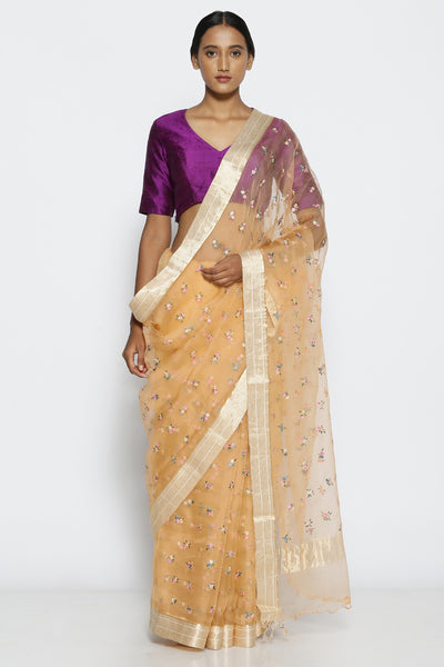 Via East peach pure sheer silk organza saree with all over floral embroidery 1