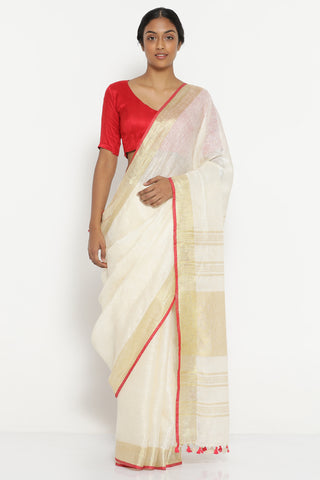 Off White Pure Linen Saree with Gold Tissue Border