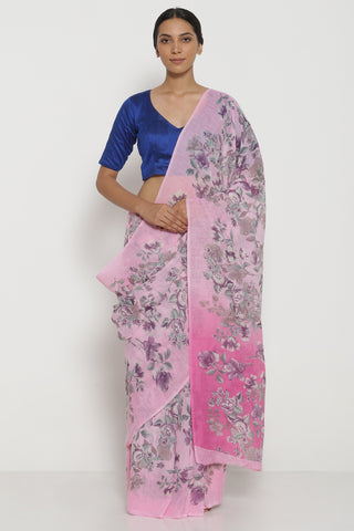 Light Pink Pure Linen Saree with All Over Watercolour Florals