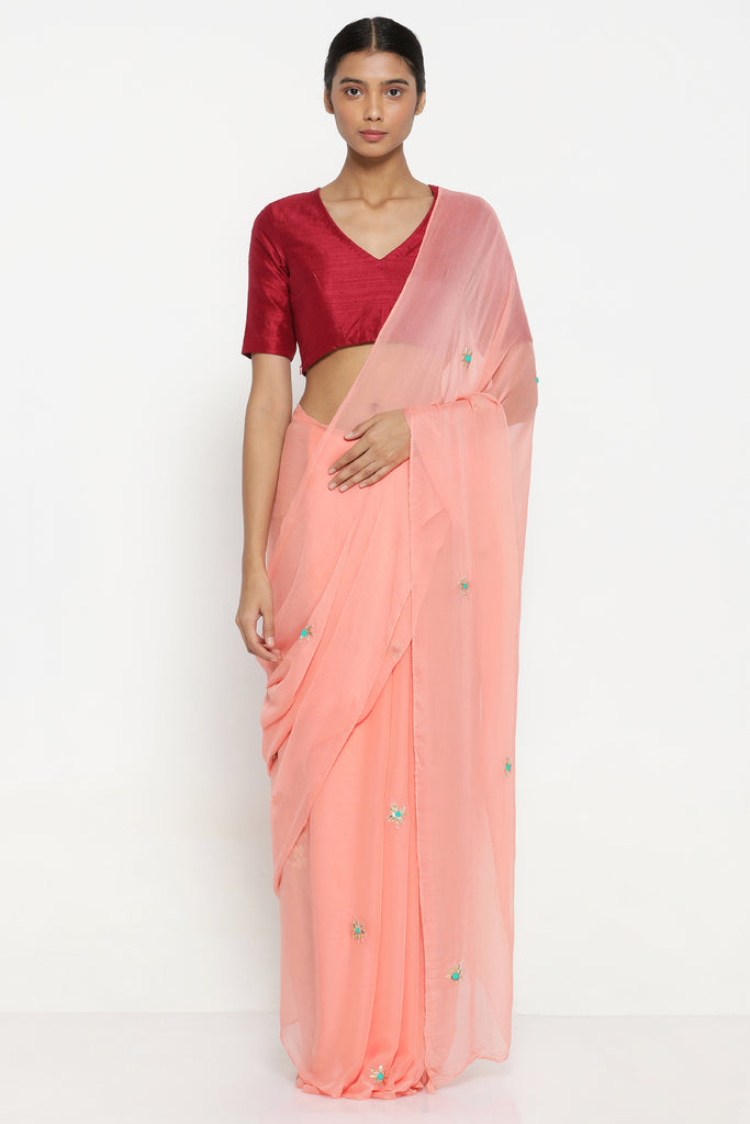 Peach Chiffon Saree with All Over Hand Embroidered Gota Patti Work and Striking Blouse