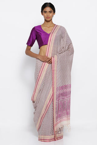 Beige Handloom Pure Cotton Saree with All Over lilac Floral Print and elegant thread Woven Border