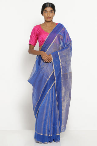 Ink Blue Handloom Silk Tissue Chanderi Saree with Detailed Pallu