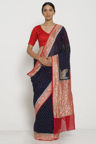 Deep Blue Handloom Pure Silk-Georgette Banarasi Saree with All Over Intricate Gold Zari Motifs and Contrasting Border
