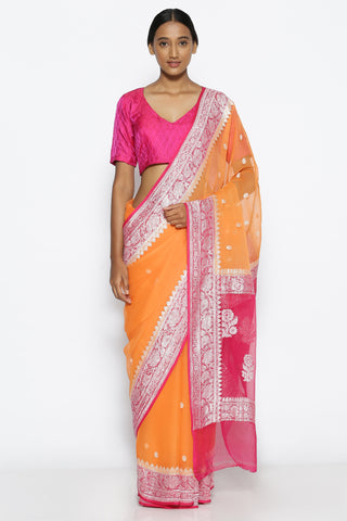 Apricot Peach Pure Georgette Banarasi Saree with Contrasting Pink Zari Border