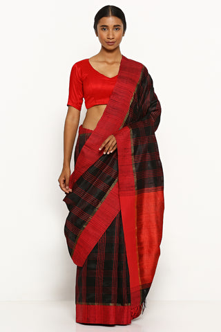 Black Handloom Pure Tussar Silk Saree with Woven Red Border