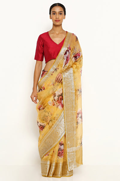 Via East yellow pure silk kota saree with all over floral print