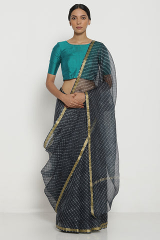 Charcoal Grey Pure Silk Kota Saree with Traditional Leheriya Pattern