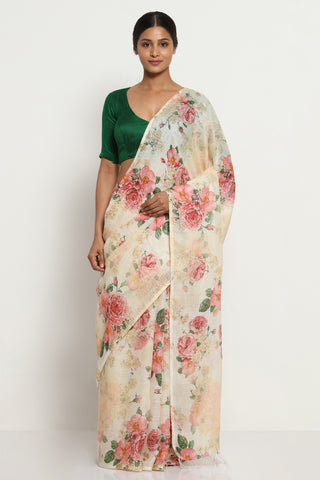 Off White Pure Linen Saree with All Over Watercolour Florals