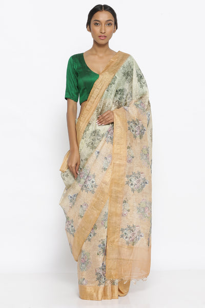 Via East sandalwood yellow pure linen tussar silk saree with all over floral print and gold zari border