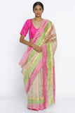 Beige Handloom Pure Silk Traditional Saree with Checked Pattern and Zari