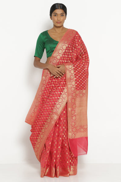 Via East red silk cotton banarasi saree with all over motifs and rich pallu