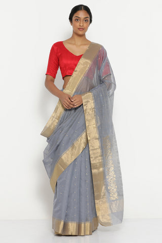 Moonlight Grey Handloom Pure Silk Cotton Chanderi Saree with Detailed Pallu