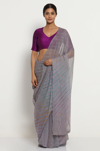 Via East grey pure chiffon saree with multi hued traditional leheriya pattern
