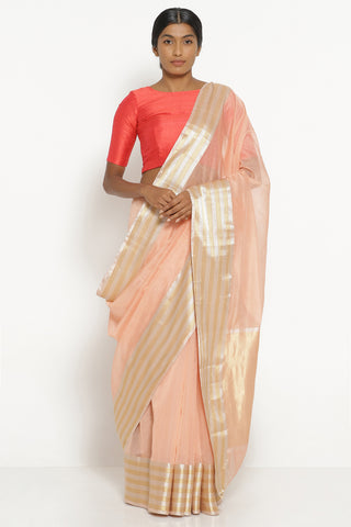 Peach Handloom Silk Cotton Chanderi Saree with Gold and Silver Woven Border