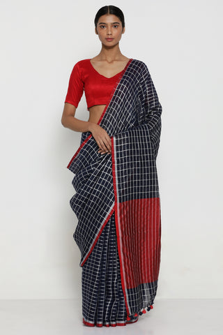 Deep Blue Handloom Pure Linen Saree with All Over Silver Zari Checks and Contrasting Pallu