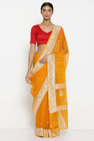 Mango Yellow Pure Silk-Chiffon Banarasi Sheer Saree with All Over Silver Zari Motifs and Rich Border