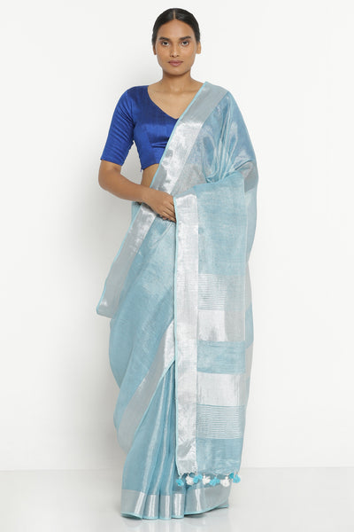 Via East aqua blue linen tissue saree with silver zari border