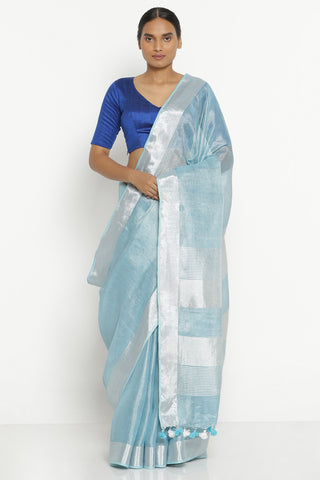 Aqua Blue Linen Tissue Saree with Silver Zari Border