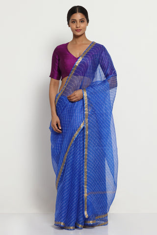 Blue Pure Silk Kota Saree with Traditional Leheriya Print and Gold Zari Border