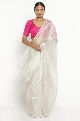White and Silver Pure Silk Cotton Chanderi Saree with All Over Silver Tissue Stripes