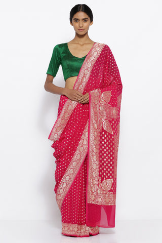 Amaranth Pink Handloom Pure Silk Georgette Banarasi Saree with All Over Zari Motifs and Rich Border