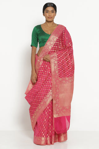 Bright Pink Silk Cotton Banarasi Saree with All Over Motifs and Rich Pallu