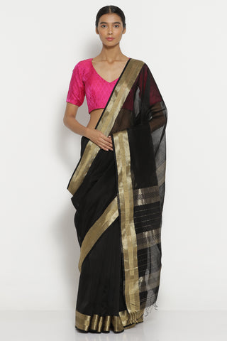 Black Handloom Pure Silk Cotton Maheshwari Saree with Woven Gold Border
