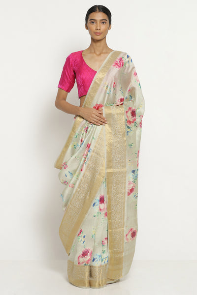 Via East cream dupion silk with all over floral print and detailed border
