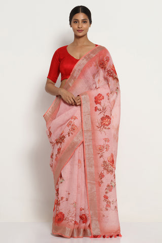 Shell Pink Pure Linen Saree with All Over Floral Print and Silver Zari Border