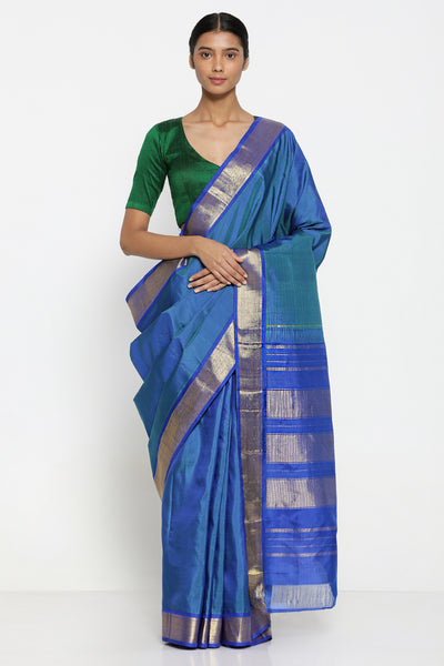 Via East sapphire blue handloom pure silk kanjeevaram saree with rich gold zari border and pallu