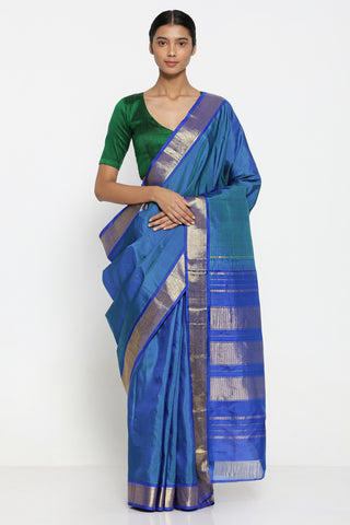Sapphire Blue Handloom Pure Silk Kanjeevaram Saree with Rich Pure Zari Border and Pallu