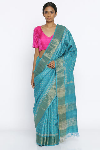 Blue Handloom Pure Tussar Silk Saree with All Over Traditional Block Print