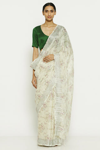 Off White Pure Linen Saree with All Over Floral Print and Silver Zari Border