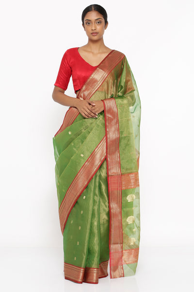 Via East green handloom pure silk tissue chanderi sheer saree with allover zari motif and intricate border 1