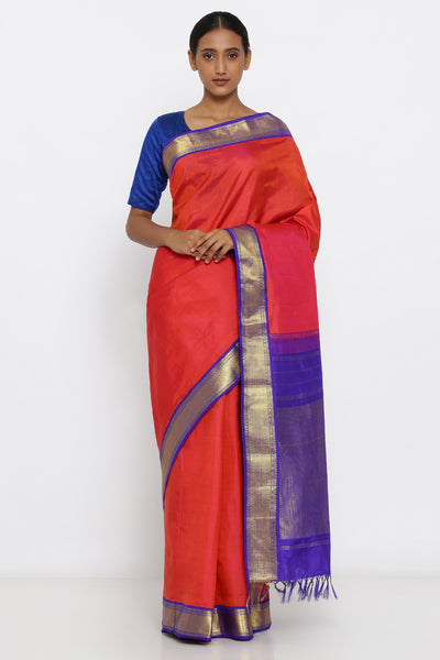 Via East vibrant pink genuine handloom kanjeevaram silk saree with contrasting pallu and border