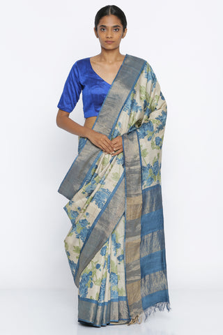 Beige Handloom Pure Tussar Silk Saree with All Over Floral Print