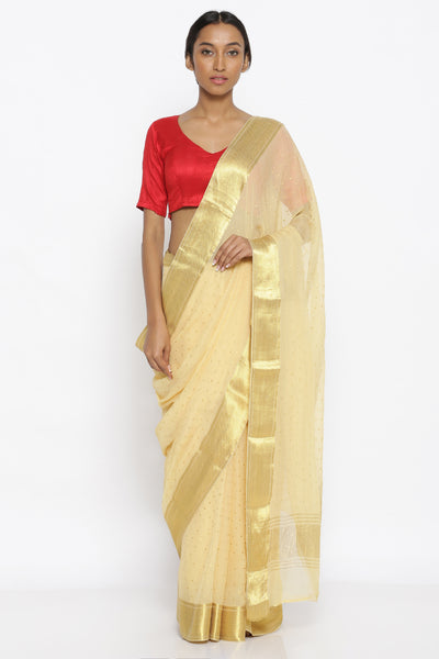 Via East off white pure chiffon saree with all over gold zari motifs