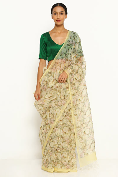 Via East ochre yellow pure silk organza sheer saree with all over floral print and gold zari buttis