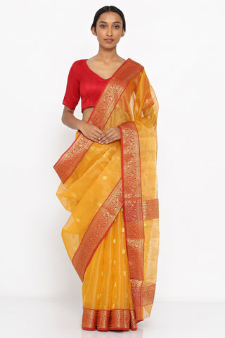 Yellow Handloom Pure Silk Chanderi Sheer Saree with Allover Zari Motif and Detailed Border