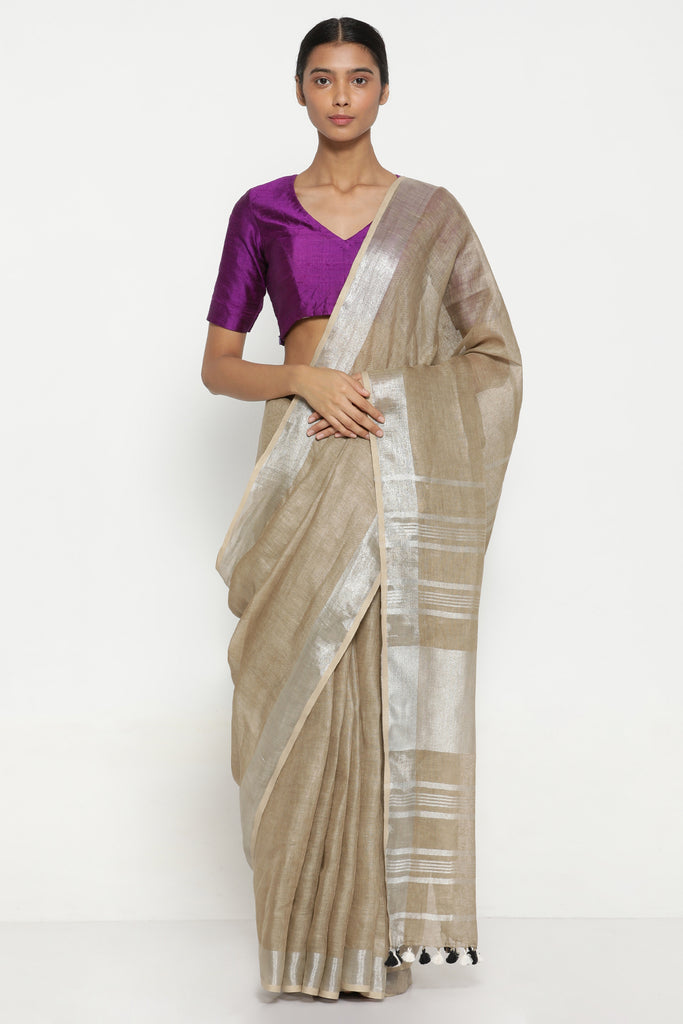 Taupe Pure Linen Saree with Rich Silver Tissue Border