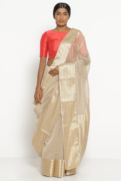 Via East beige handloom silk cotton chanderi saree with gold and silver woven border