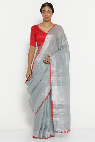Ash Grey Pure Linen Saree with Silver Zari Border