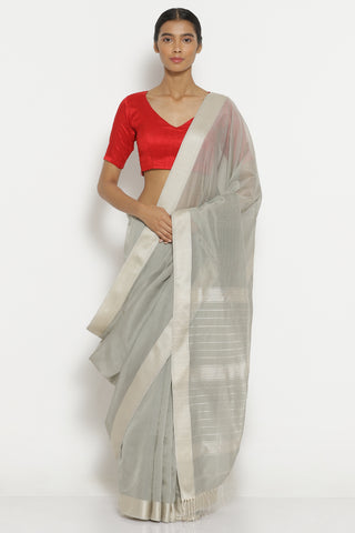 Grey Handloom Pure Silk Cotton Maheshwari Saree with All Over Stripes