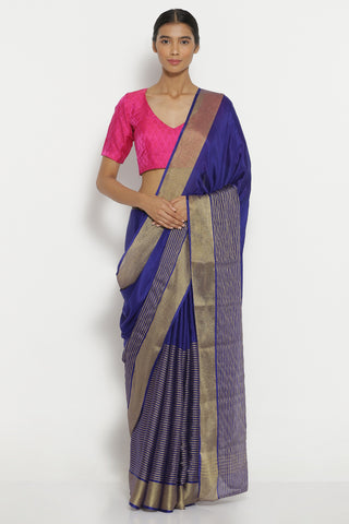 Ink Blue Pure Crepe Saree with Gold Zari Striped Pattern