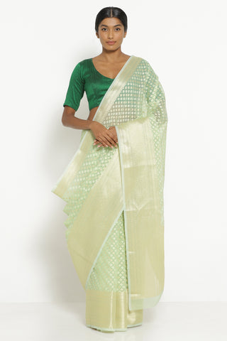 Light Green Silk Cotton Banarasi Saree with All Over Motifs and Rich Pallu
