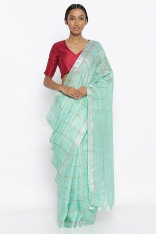 Aqua Green Pure Linen Saree with All Over Gold Zari Checked Pattern and Silver Zari Border