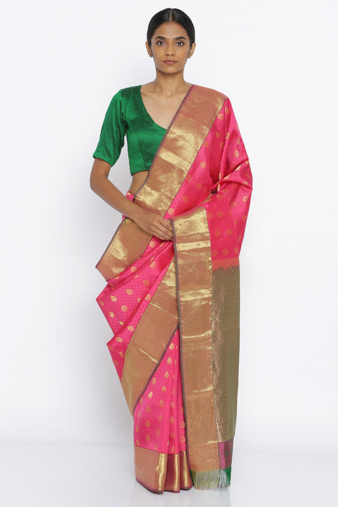 Pink Handloom Pure Silk Traditional Saree with All Over Zari Motif and Rich Detailed Pallu