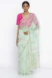 Pale Green Handloom Pure Silk-Organza Sheer Saree with All Over Digital Floral Print