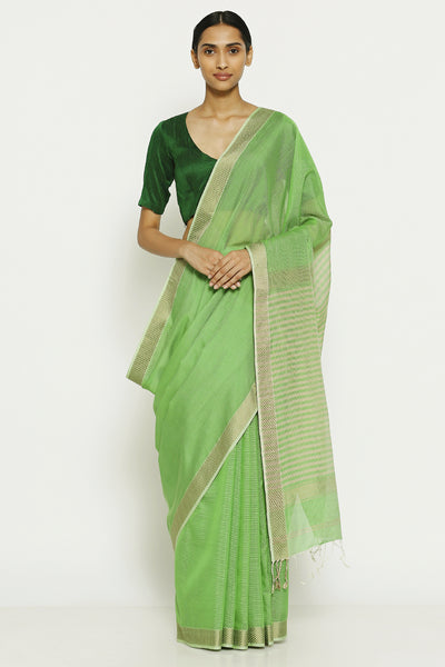 Via East lime green handloom pure silk cotton maheshwari saree with striped pallu