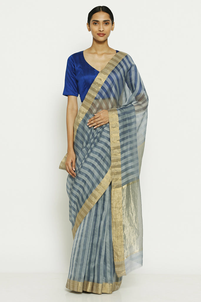 Grey Handloom Pure Silk Cotton Chanderi Saree with All Over Striped Pattern